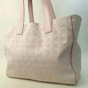 Chanel Travel Line Mm Jacuard Cc Tote Satchel bag